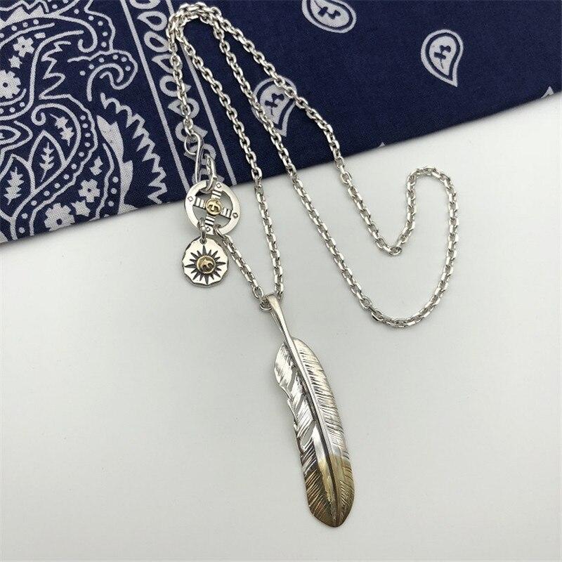 Style indien fait à la main en argent Sterling 925 plume pendentif collier hommes femmes Thai argent bijoux longue chaîne collier hommes bijoux - 2