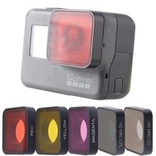 TENENELE Go Pro 7 filtre dobjectif de caméra CPL polarisant/UV/rouge/Magenta/jaune filtres Set pour GoPro Hero 5 6 7 accessoire dobjectif noir