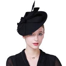 FS Fascinators Cappelli Invernali Per Le Donne Elegante Vino Rosso Nero  Feltro di lana Cappellino a 7c443e056835