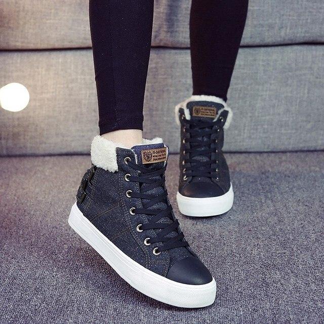 New 2016 High Top Women Canvas Shoes Women's Winter Shoes Warm Ankle Boots Casual Shoes Fashion Denim Lace Up Flat Women Shoes