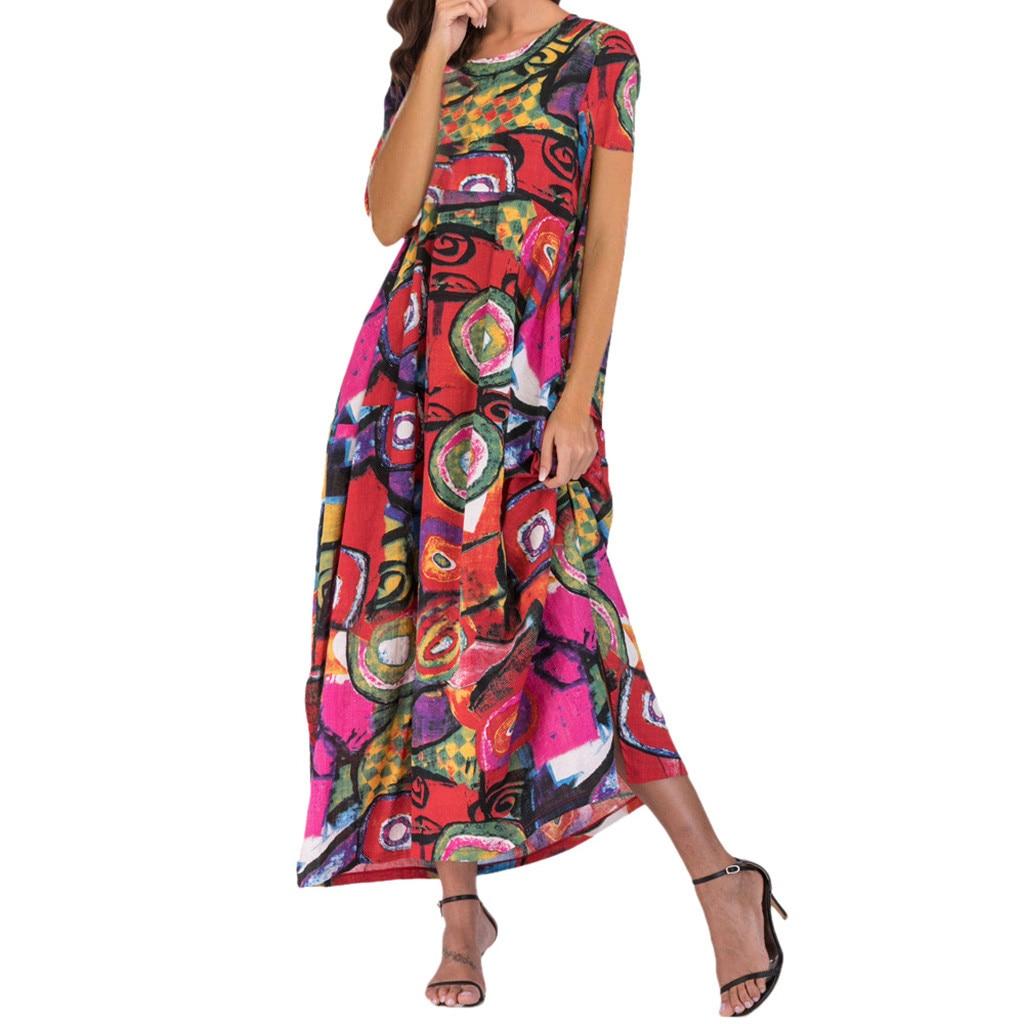 JAYCOSIN dress Women summer fashion O-Neck Loose long dress Short Sleeve Thin Cotton Linen Bohe Pockets Floral Kaftan Dress 424