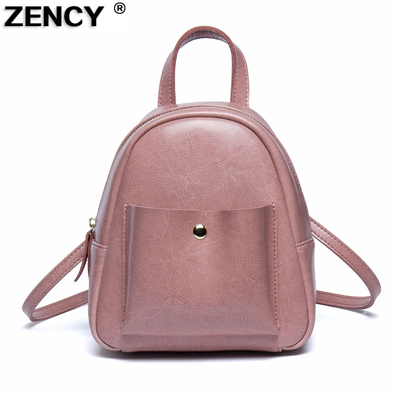Zency Summer New Luxury Fashion Oil Wax Cowhide Women Girl Female Genuine Leather Small Backpack Real Leather Woman Tote Bag women s oil wax genuine cowhide leather backpack lady girl school bag crossbody shoulder travel bag for woman mr1037