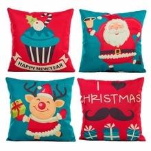 45x45cm Cotton Linen Merry Christmas Cover Cushion Christmas Decorations