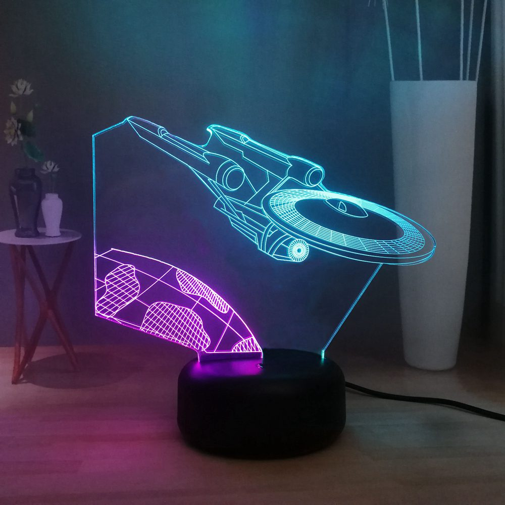 Creative USS Enterprise LED Night Light Star Wars Trek spacecraft Kids Room Decor USB Remote 3D