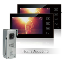 FREE SHIPPING Wired 7″ Color Touch Screen Video Door phone Intercom Entry With 1 Waterproof Doorbell Camera + 2 Monitor IN STOCK