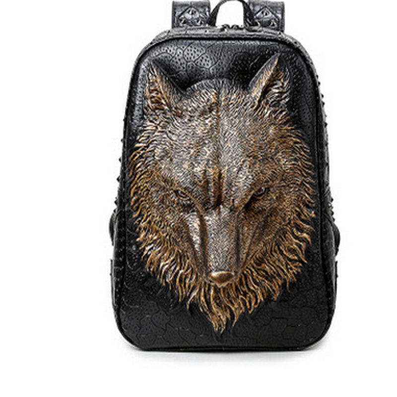 New PU Leather Women Unique Travel 3D Backpack Punk Rivet Wild Wolf Printing Motorcycle Ride Women Laptop Bags Women Backpack punk women s satchel with rivet and pu leather design