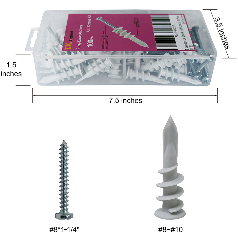 Image 3 - T.K.EXCELLENT Screw Self Drilling Drywall Anchors With Pan Head Self Tapping Screws Kit for Woodworking Plastic 100Pcs-in Screws from Home Improvement