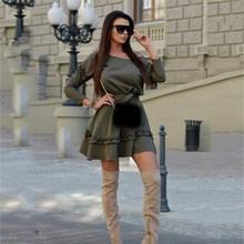 2019 Autumn Women Solid Off Shoulder Mini Dress Sexy Party Club Casual Ruffle Dresses Vestidos