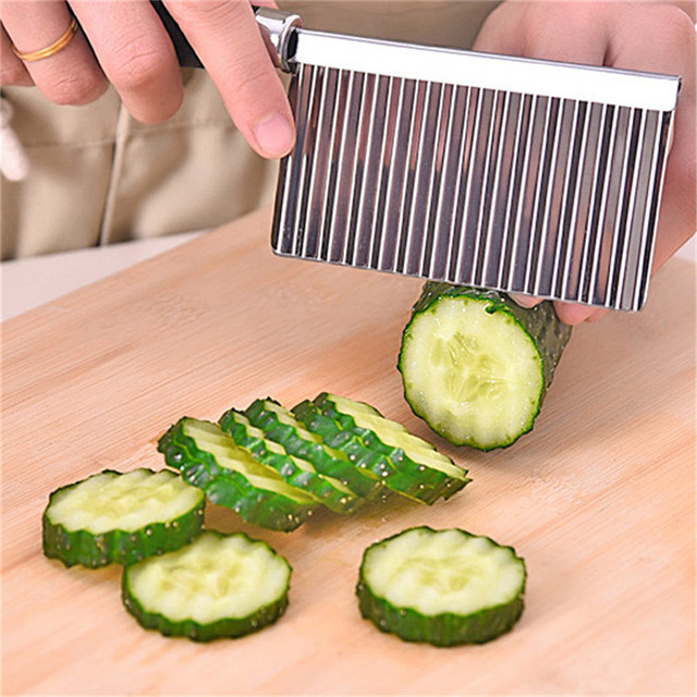 2020 New Kitchen Knives Stainless Steel Vegetable Fruit Wavy Cutter Potato Cucumber Carrot Waves Cutting Slicer Tools Home & Garden