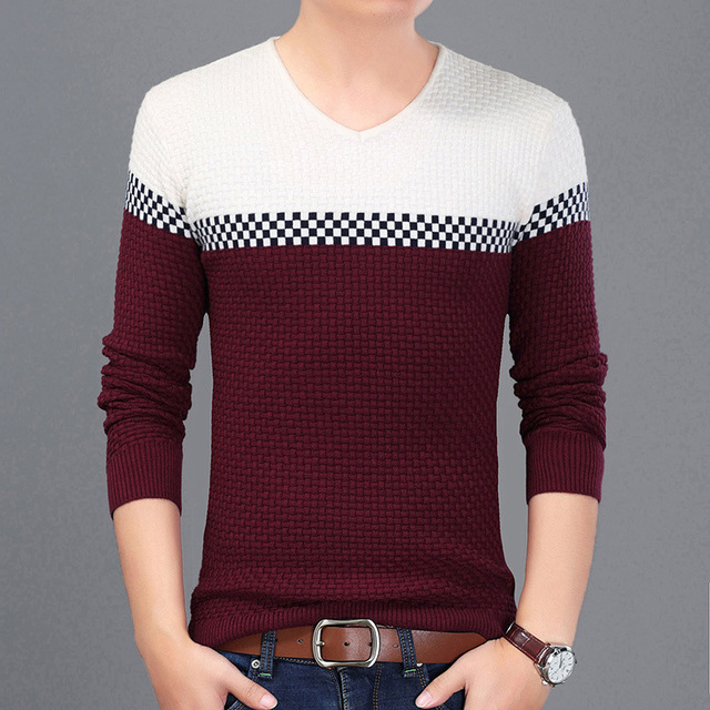 2017 New Year's Pullover Men Sweater Hombre Casual Wear Fashion Men's Pullover Sweaters Slim Fit Pullovers Plus Size M~3XL