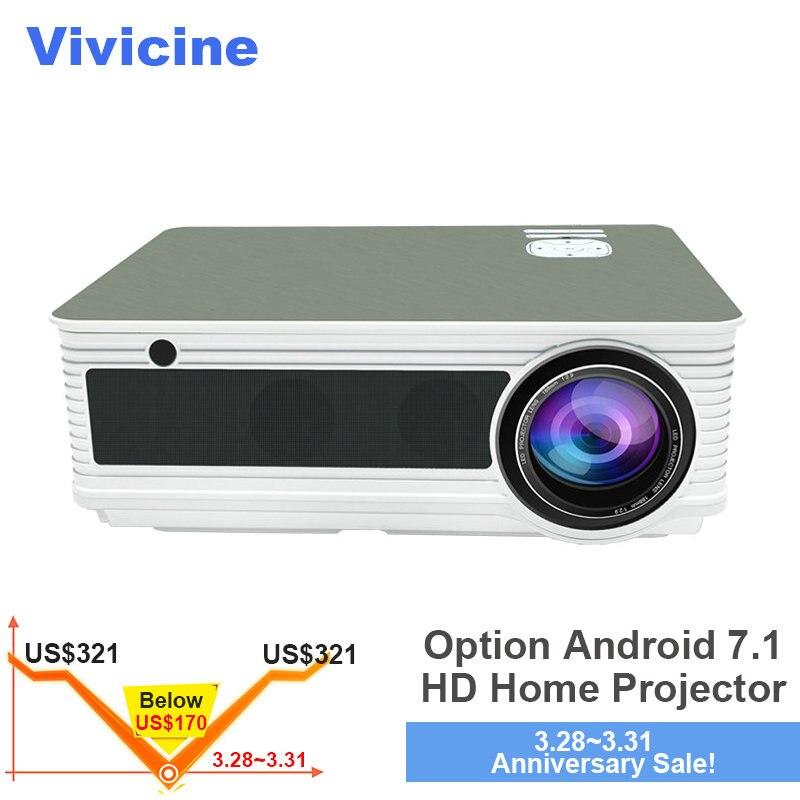 VIVICINE HD projecteur pour la maison, 5500 Lumens, Android 7.1 WiFi Bluetooth En Option, Soutien 1080 p Home Cinéma vidéoprojecteur led Beamer