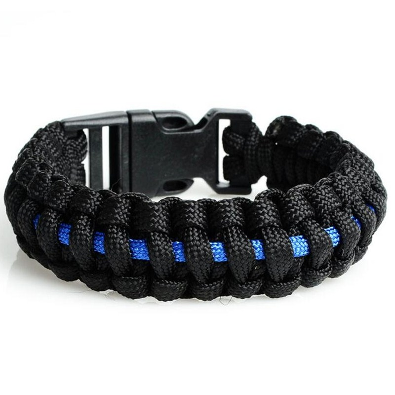 wholesale Police Thin Blue Line Series Outdoor Travel Camping Braided Plastic Buckle Patriot Paracord Survival Bracelet