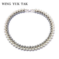 New Fashion Party Choker Double Rhinestone Statement Pearl Necklace Charm Jewelry For Women