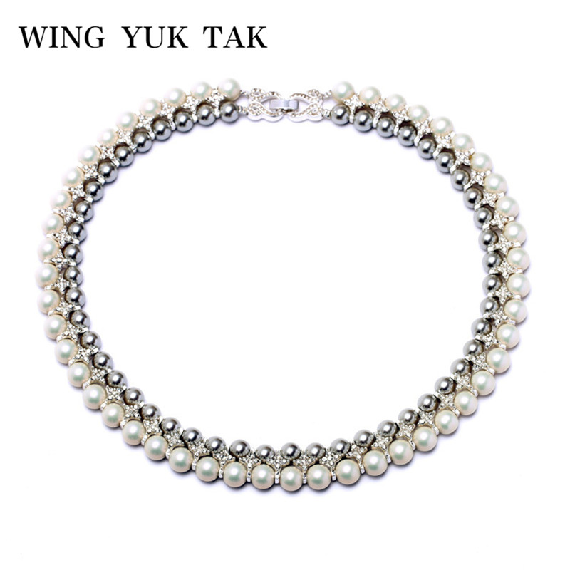 Wing Yuk Tak New Fashion Party Choker Double Rhinestone Statement Simulated Pearl Necklace For Women Factory Wholesale faux pearl rhinestone butterfly denim choker necklace
