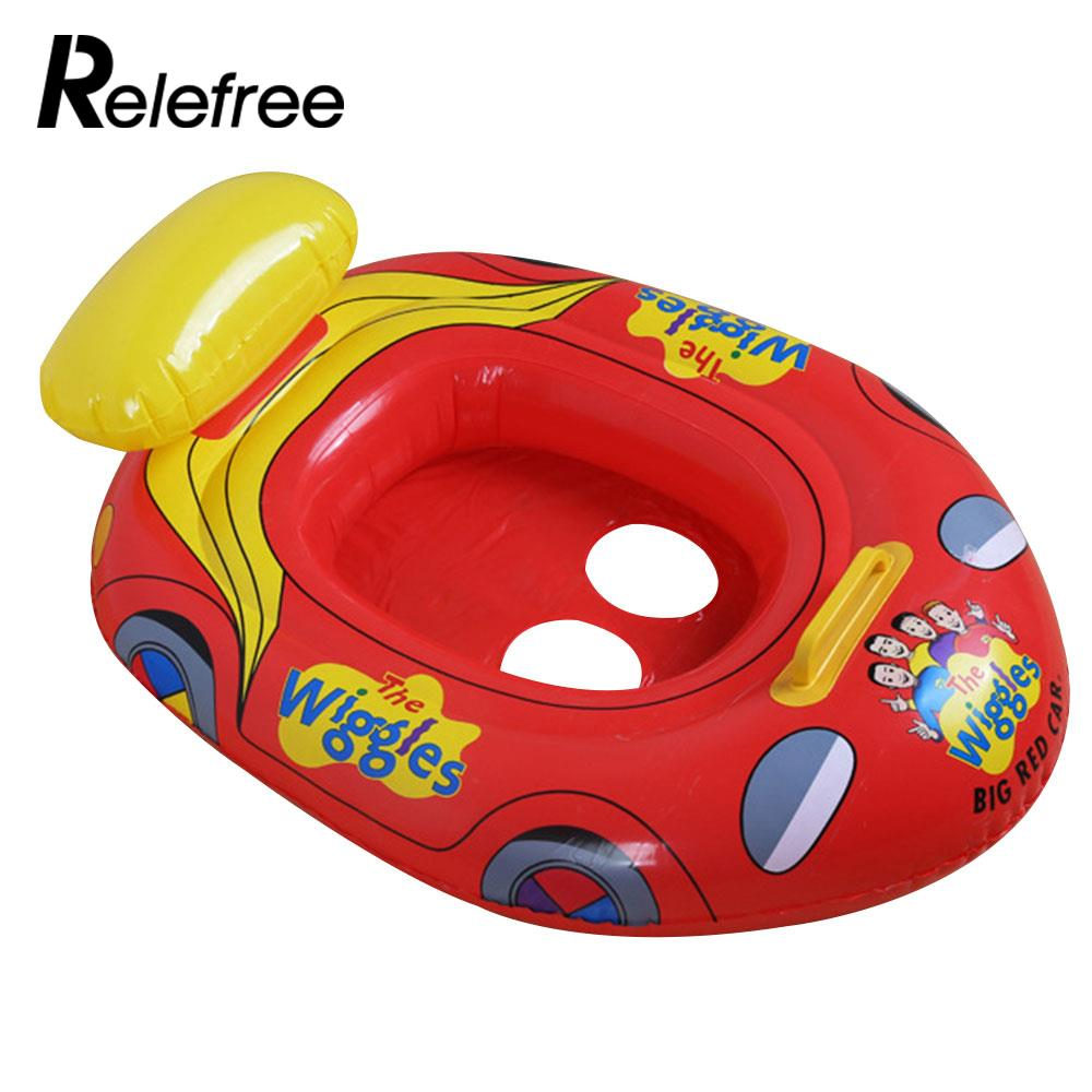 Car Shape Red Floating Toys Baby Swimming Ring Inflatable Swim Float Cartoon Beach Floating Boat Safety Kid Water Fun Pool