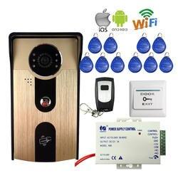 Бесплатная доставка Новый доступа RFID Беспроводной локальной сети Wi-Fi телефон видео домофон металл открытый Дверные звонки Камера для Android
