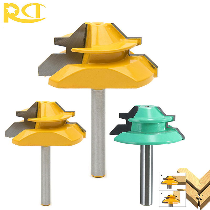 RCT 1/4'' Shank Lock Miter Router Bit 45 Degree Wood Tenon Cutter For MDF Plywood Carpenter Woodworking Tools high grade carbide alloy 1 2 shank 2 1 4 dia bottom cleaning router bit woodworking milling cutter for mdf wood 55mm mayitr