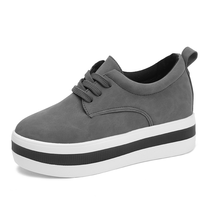 Image 4 - Women New Spring summer Faux Suede Shoes Casual Lace Up Sneakers Female Platform Shoes Ladies Flats Size 35 40 n969-in Women's Flats from Shoes