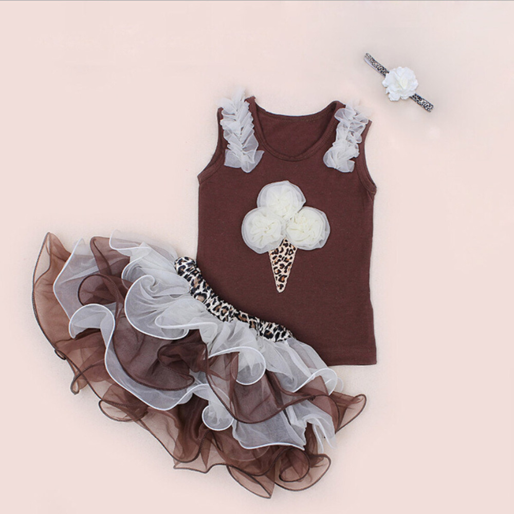 3PCs per Set Infant Girls Party Dress Toddler Girl Birthday Outfits Leopard Ice Cream Tshirt Tutu Pettiskirt Headband 3pcs set newborn infant baby boy girl clothes 2017 summer short sleeve leopard floral romper bodysuit headband shoes outfits