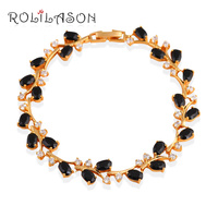Delicate Bracelets Mysterious Gifts For Women Brand 18K Yellow Gold Plated Black Onyx Fashion Jewelry For