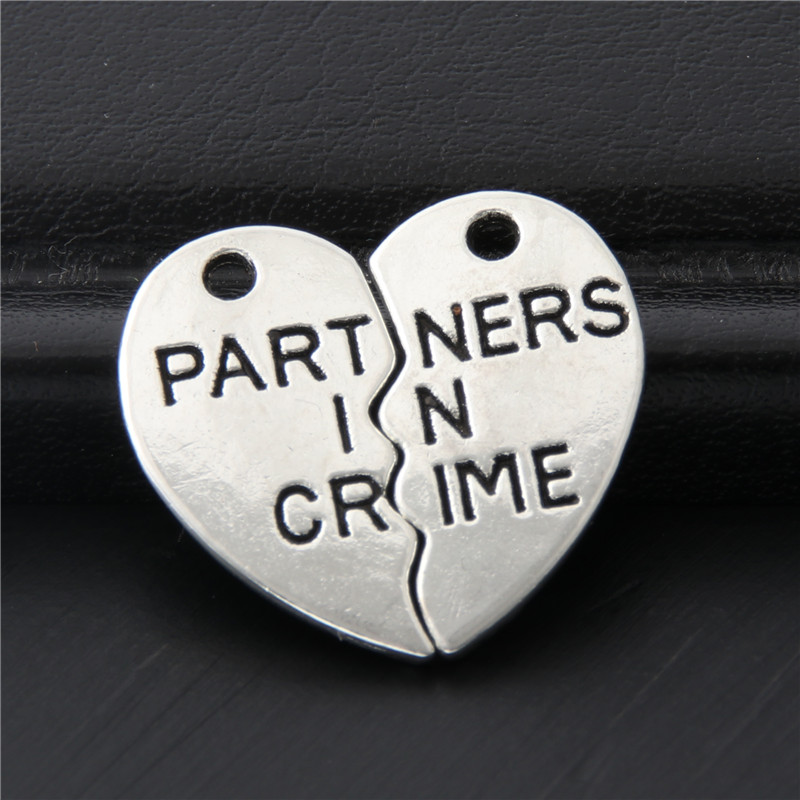 Letters-Pendant Charms Crime Jewelry Heart-Shaped Trendy-Making Silver-Color 10pcs 20x19mm