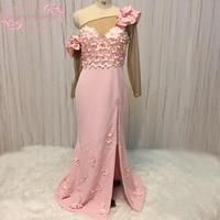 SuperKimJo una spalla abiti da sera manica lunga singolo hand made fiori sirena rosa prom dresses 2018 reale