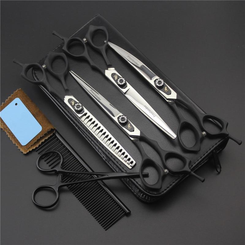 7 0 inch Pet Scissors Dog Grooming Scissors Set Straight Curved Thinning Shears Sharp Edge Animals