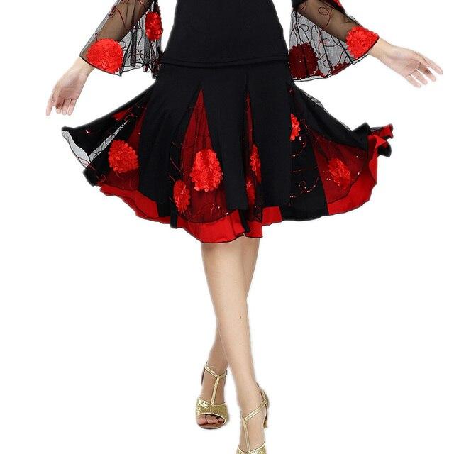 Women Square Dance Costume Skirt Modern Ballroom Dancing skirts Flower Mesh Mini Latin Dance Clothes Female Practice Dancewear