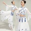 Desempenho Trajes de Dança Mulheres Trajes de Dança Folclórica Chinesa Porcelana Azul E Branca Clássica Menina Traje de Dança Frete Grátis