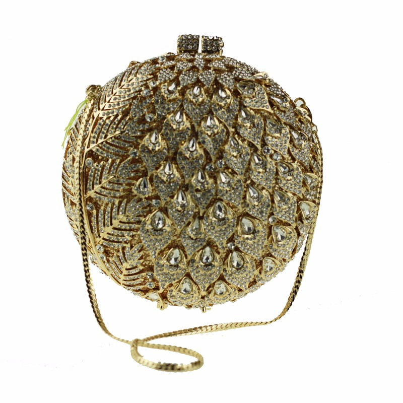 round crystal clutch bag golden1
