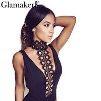 Glamaker Black Sexy Eyelash Lace Halter V Neck Bodysuit Sleeveless Elegant Jumpsuit Romper Party Fashion Backless
