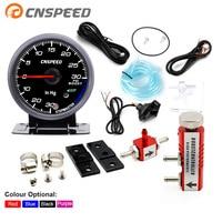 CNSPEED 60MM Car Turbo Boost Gauge PSI With Sensor Black Face White& AMBER Lighting turbo boost meter & Adjustable Controller
