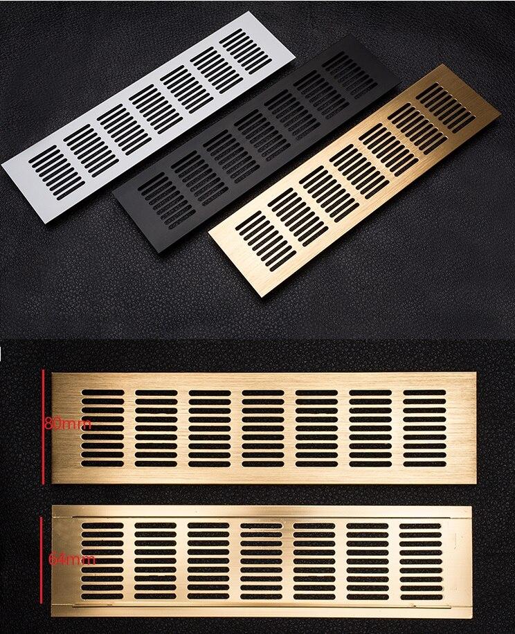 4Pcs/Lot 80mm Wide Rectangle Aluminum Air Vent Ventilator Grille Cover Closet Shoe Cabinet Gold Black Conditioner