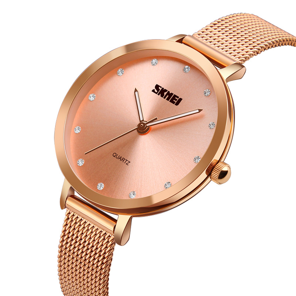 SKMEI Women Fashion Watches Luxury Stainless Steel Strap Quartz Watch Ladies Waterproof Elegant Wristwatches Relogio Feminino 1