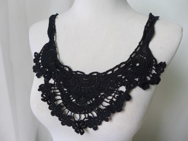 новая мода черный воротник из хлопкового кружева вышивка цветочный