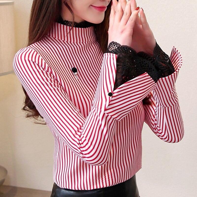 Rayas Primavera Manga La Mujeres 2019 rojo Moda Camisa 3xl Delgado Blusa Tops M Encaje Las De Nueva A Que Mujer Basa Negro wqPnpO0