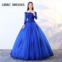 Королевский синий Quinceanera платье элегантный с открытыми плечами бальное сладкий 16 платья для женщин Vestido De Quinceanera 2018