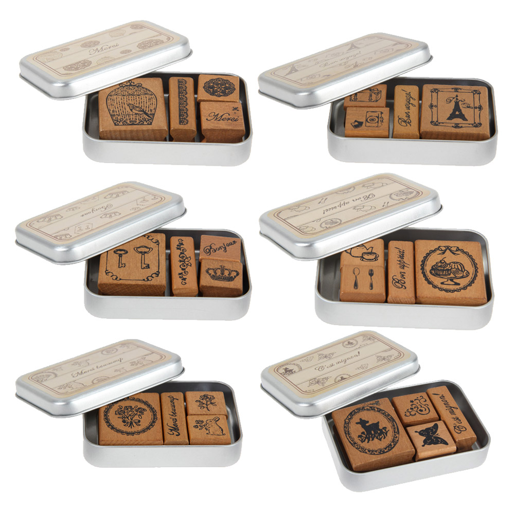 Retro Vintage DIY Happy Time Style Diary Wooden Rubber Stamp with Iron Box for Scrapbook 1 box pack retro vintage diy dorothy quartet series diary wooden rubber stamp with iron box clear stamps for scrapbooking