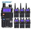 6 pçs/lote baofeng uv5r rádio em dois sentidos portátil grande bateria 1800 mah dual band vhf uhf 136-174/400-520 walkie talkie