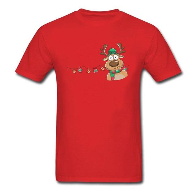 27163ecce Custom Store Christmas Deer Print Men Red T-shirt Lucky New Year Cute Tee  Shirts Short Sleeve Family Gift Sweatshirt