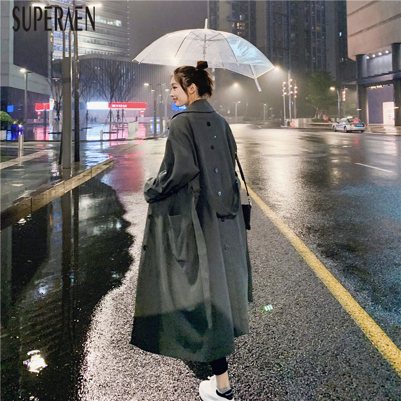 SuperAenm Fashion Windbreaker Female Korean Style 2019 New Spring and Autumn   Trench   Coat for Women Solid Color Women Clothing