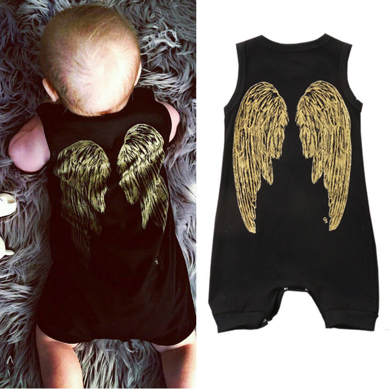 Cute Wings Newborn Toddler Baby Boys Girls Clothes Romper Cute Black Jumpsuits Outfits 0-18M cute black jumpsuits outfits clothing baby kid boy girl wings newborn toddler child infant kids boys girls clothes romper 0 18m