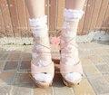 Princesa lolita doce meias meias de vidro cristal transparente bordado rústico summer fina flor do vintage rendas cor pode escolher