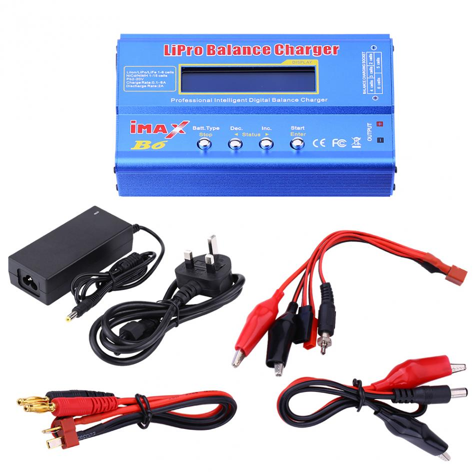 RC 80W 1-6S Lipo Balance Charger Discharger for Lipo NiMH NiCd Battery + 12V 5A Adapter Multi-functional Balance Charger Parts