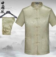 Costume estate homme terno masculino maschio manica corta abiti mens di stile cinese nazionale di seta filo fibbia abiti da uomo di grandi dimensioni