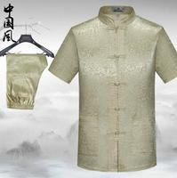 Summer costume homme terno masculino male short sleeve suits mens chinese style national silk thread buckle suits men large size