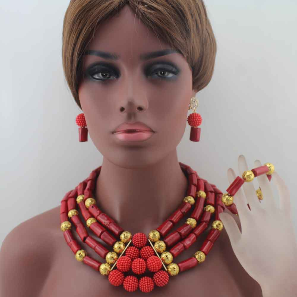 2019 New African Coral Beads Jewelry Set Nigerian Wedding beads Indian Costume Bridal beaded Necklace Set Free Ship W140122019 New African Coral Beads Jewelry Set Nigerian Wedding beads Indian Costume Bridal beaded Necklace Set Free Ship W14012