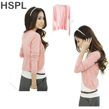 HSPL Cardigan Women Knitted Female Pink Sweater Autumn 2017 Hot Sale Short Fashion Cashmere Knitting Summer V-neck White Jumper