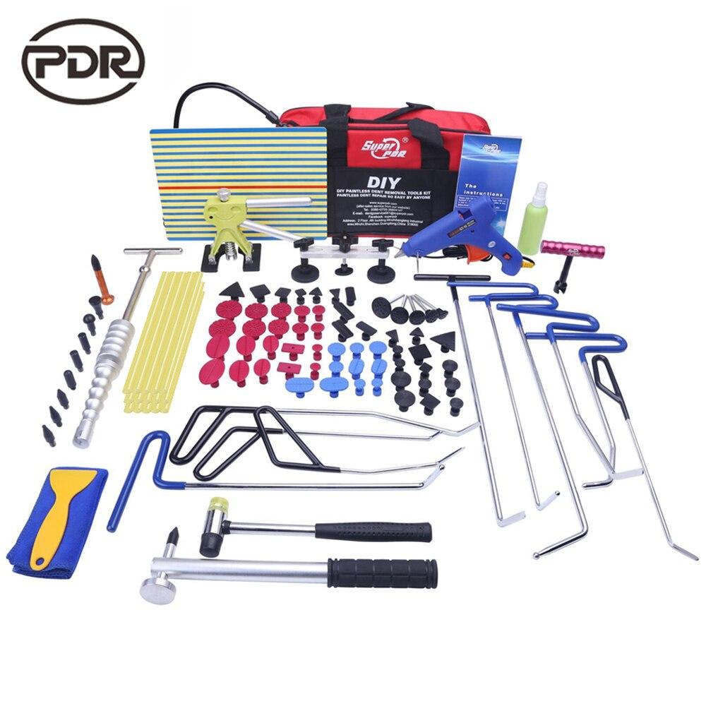 PDR Tiges Crochets Outils kit De Réparation De Carrosserie Auto Repair Tool Set Porte Ding Dent Hail Enlèvement Ventouses Colle marteau de Haute Qualité