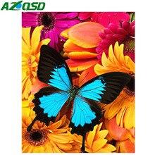 AZQSD 5D Diamond Painting Flowers Butterfly Home Decor Needlework Mosaic Animal Full Square Picture Of Rhinestones
